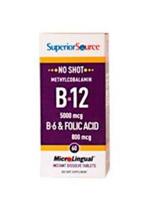 SuperiorSource B12-VITAMIINI | metyylikobalamiini 5000 µg-B6-foolihappo 800 µg